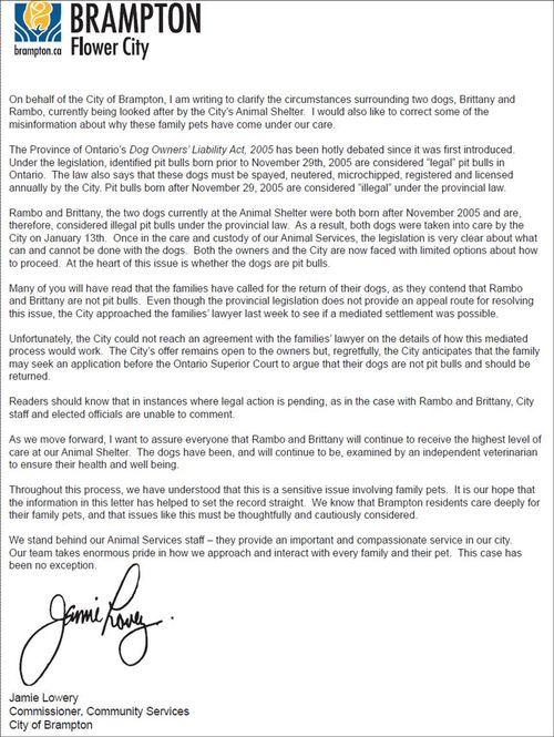 Brampton Letter